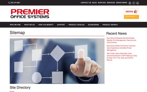 Screenshot of Site Map Page premierofficesystems.com - Premier Site Directory - captured July 14, 2018
