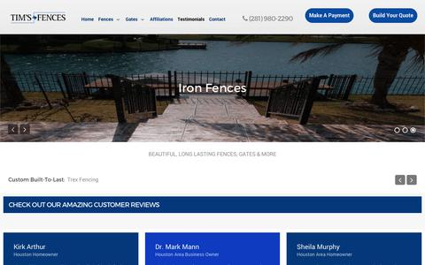 Screenshot of Testimonials Page timsfences.com - Testimonials - Houston Fence - captured Oct. 20, 2018