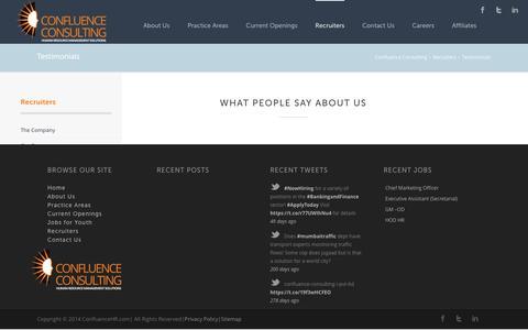 Screenshot of Testimonials Page confluencehr.com - Testimonials | Confluence Consulting - captured Jan. 30, 2016