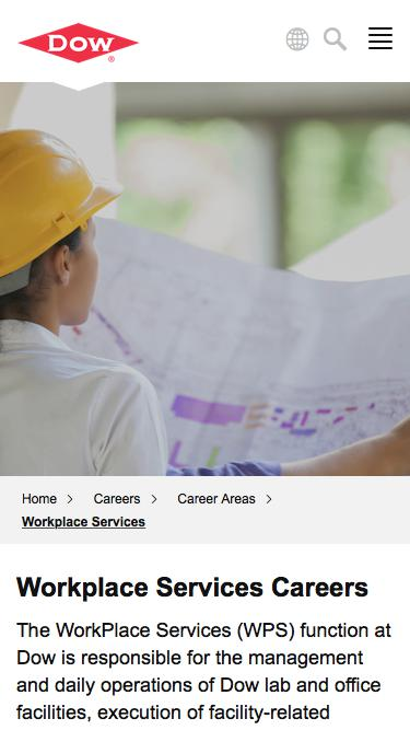 Screenshot of Jobs Page  dow.com - Workplace Services Careers   Dow