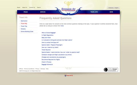 Screenshot of FAQ Page sriwijayaair.co.id - Frequently Asked Questions | Sriwijaya Air - captured Sept. 18, 2014