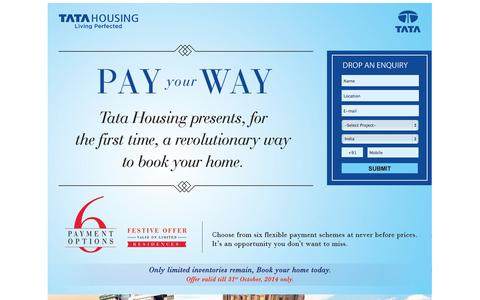 Screenshot of Landing Page tatahousing.in - PAY your WAY - Tata Housing presents, for the first time, a revolutionary way to book your home - captured Oct. 27, 2014