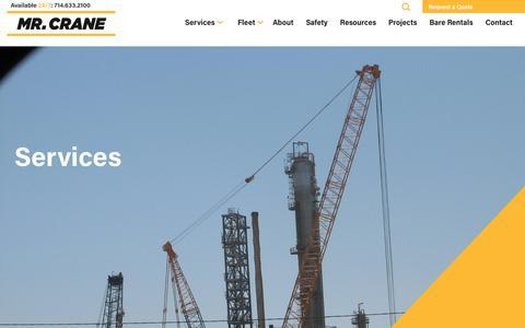 Screenshot of Services Page mrcrane.com - Services - Mr. Crane - captured Nov. 7, 2018