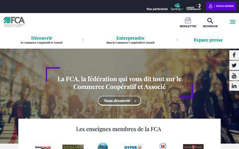 Screenshot of Home Page commerce-associe.fr - FCA | Formes de commerce en réseau, commerçant indépendant : Fédération du commerce coopératif et associé - Fédération du Commerce Associé - captured Oct. 21, 2018