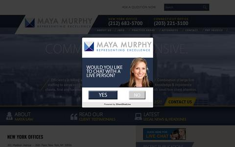 Screenshot of Contact Page mayalaw.com - Contact - Maya Murphy, P.C. - captured June 10, 2017