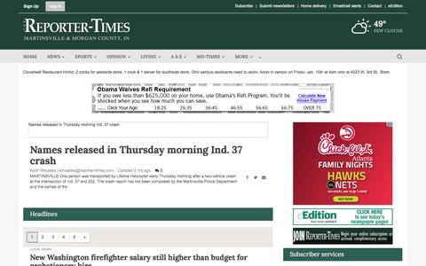 Screenshot of Home Page reporter-times.com - reporter-times.com - captured Jan. 14, 2016