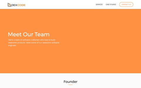 Screenshot of Team Page dexcode.com - Ruby on Rails and NodeJS Development and Outsourcing Services - captured Oct. 4, 2017