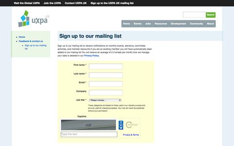 Screenshot of Signup Page uxpa-uk.org - User Experience Professionals' Association (UK) - captured Oct. 3, 2014