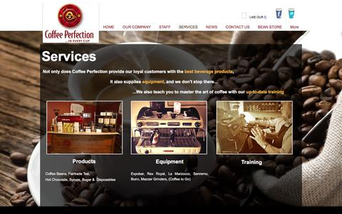 Screenshot of Services Page coffeeperfection.ie - Services - captured Nov. 8, 2016