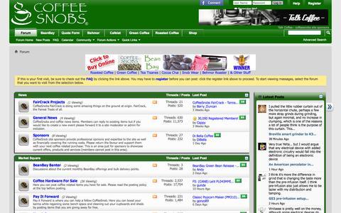 Screenshot of Home Page coffeesnobs.com.au - CoffeeSnobs - captured Sept. 19, 2014