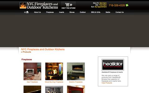 Screenshot of Products Page nycfireplaces.com - Fireplaces, BBQ & Grills, Outdoor Living: NYC Fireplaces and Outdoor Kitchens - captured Oct. 7, 2014