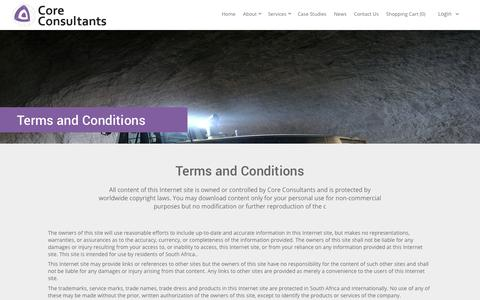 Screenshot of Terms Page coreconsultantsgroup.com - Terms and Conditions - Core Consultants : Core Consultants - captured Nov. 12, 2016