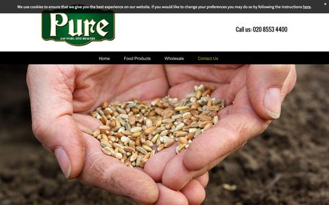 Screenshot of Contact Page pureglobalfoods.com - Pure Global Foods your food supplier in London - captured July 19, 2016