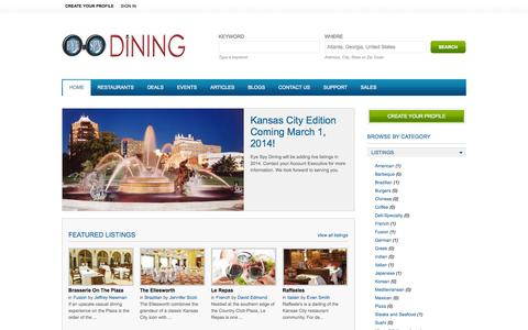 Screenshot of Home Page eyespydining.com - Kansas City Restaurants | Eye Spy Dining - captured Jan. 27, 2015