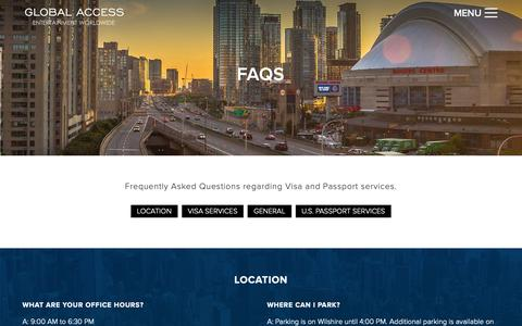Screenshot of FAQ Page globalaxs.net - Entertainment Visas & Work Permits FAQ's | Hollywood CA - captured Sept. 28, 2018