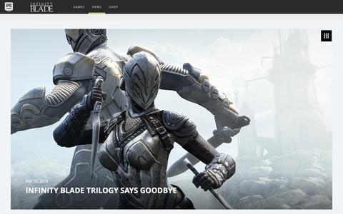 Screenshot of Press Page epicgames.com - Infinity Blade Trilogy Says Goodbye - captured Dec. 20, 2018