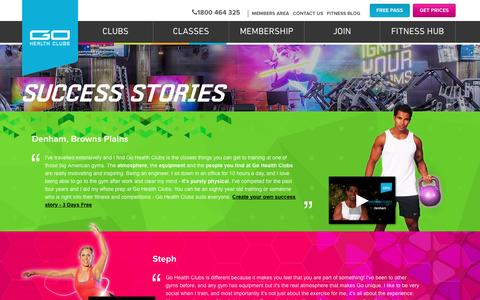 Screenshot of Testimonials Page gohealthclubs.com.au - Success Stories Go Health Clubs | Go Health Clubs - captured Dec. 5, 2015