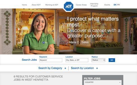 Screenshot of Support Page adt.com - Customer Service Jobs in West Henrietta at ADT - captured Dec. 4, 2016
