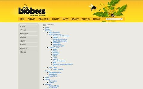 Screenshot of Site Map Page biobees.co.nz - Site Map - captured Oct. 5, 2014