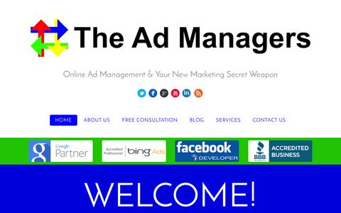 Screenshot of Home Page theadmanagers.ca - The Ad Managers | Online Ad Management, Lead Generation - captured Feb. 28, 2016