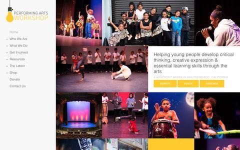 Screenshot of Home Page performingartsworkshop.org captured May 15, 2017