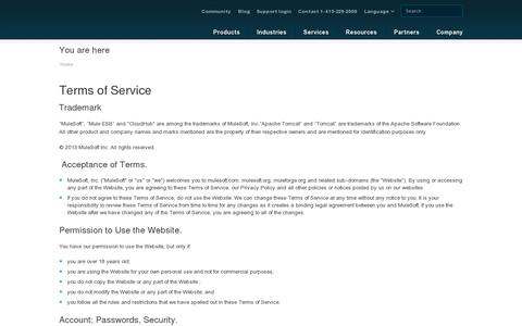 Screenshot of Terms Page mulesoft.com - Terms of Service   MuleSoft - captured July 20, 2014