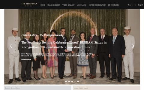 Screenshot of Press Page peninsula.com - THE PENINSULA HOTELS | EN - captured Oct. 18, 2018