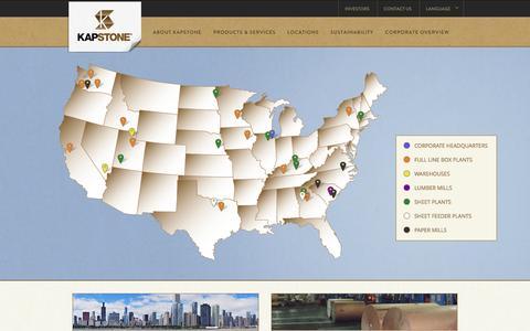 Screenshot of Locations Page kapstonepaper.com - Locations | KapStone Paper and Packaging | KapStone - captured Oct. 27, 2014