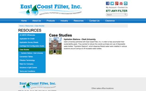 Screenshot of Case Studies Page eastcoastfilter.com - Case Studies - captured Jan. 24, 2016