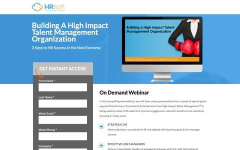 Screenshot of Landing Page hrsoft.com - Building A High Impact Talent Management Organization - captured Sept. 6, 2016