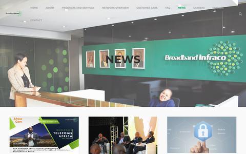Screenshot of Press Page infraco.co.za - News - Broadband Infraco - captured Nov. 13, 2018