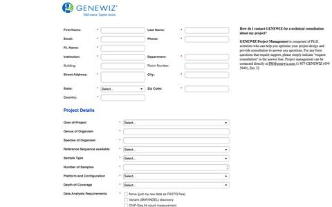 Screenshot of Landing Page genewiz.com captured Aug. 13, 2016