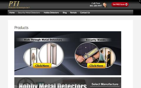 Screenshot of Products Page pti-world.com - Products - PTI - captured Oct. 3, 2014