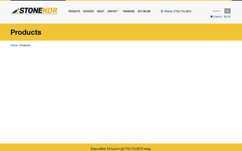 Screenshot of Products Page stonekor.com - Products - Concrete Grinding, Diamond Tooling, Janitorial, Engines, Parts - captured Nov. 5, 2018
