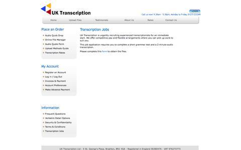 Screenshot of Jobs Page uktranscription.com - Transcription Jobs at UK Transcription - captured Sept. 23, 2014