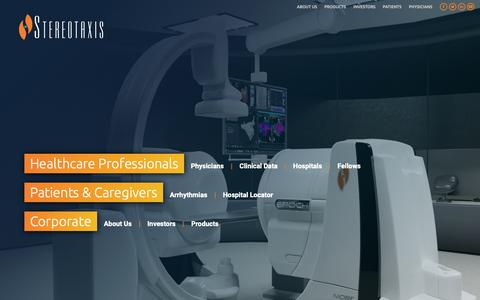 Screenshot of Home Page stereotaxis.com - Stereotaxis – Improving Life with Robotic Precision and Safety - captured Dec. 7, 2018