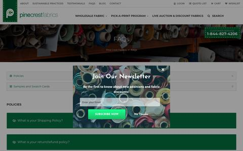 Screenshot of FAQ Page pinecrestfabrics.com - Pine Crest Fabrics Wholesale Spandex | Frequently Asked Questions - captured July 18, 2018