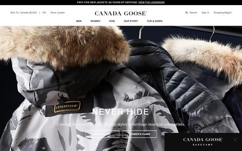 Screenshot of Home Page Terms Page canadagoose.com - Canada Goose Extreme Weather Outerwear | Since 1957 | Canada Goose® - captured Aug. 3, 2017
