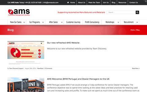 Screenshot of Blog amsauto.com - Blog - AMS Automotive Management Services - captured Oct. 1, 2016