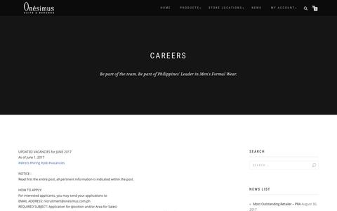 Screenshot of Jobs Page onesimus.com.ph - Careers | Onésimus Suits & Barongs - captured Oct. 18, 2018