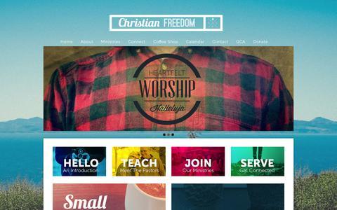 Screenshot of Home Page christianfreedomchurch.com - Christian Freedom Church - captured Jan. 27, 2016