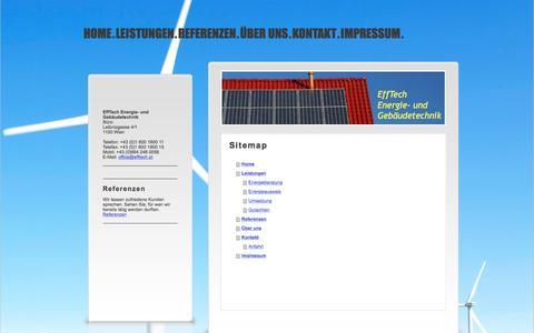 Screenshot of Site Map Page efftech.at - EffTech Energie- und Gebäudetechnik - Home - captured May 15, 2017
