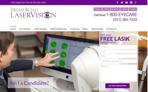 Screenshot of Home Page dellorussolaservision.com - LASIK Eye Surgery New York | New York City Laser Vision Eye Surgeons - captured Jan. 7, 2016
