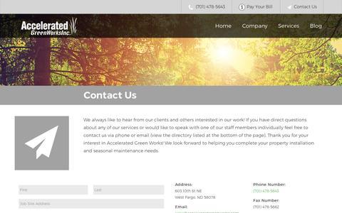 Screenshot of Contact Page acceleratedgreenworks.com - Contact Us - Accelerated Green Works - captured Nov. 20, 2016
