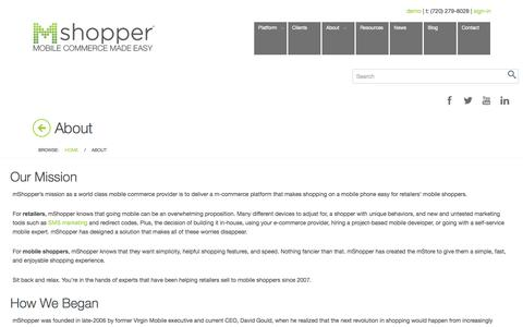 Screenshot of About Page mshopper.com - Mobile Commerce Provider - M-Commerce Company - About mShopper - captured Sept. 24, 2014