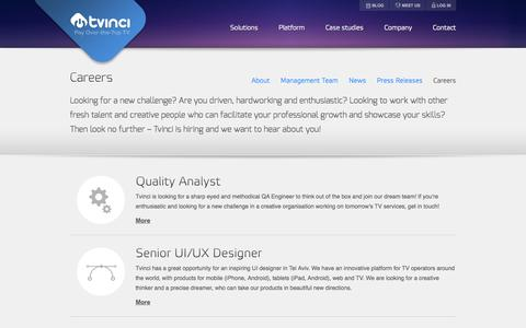 Screenshot of Jobs Page tvinci.com - Tvinci – Careers - captured Sept. 17, 2014