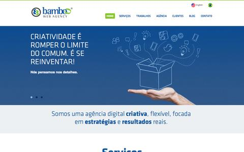 Screenshot of Home Page agenciabamboo.com.br - Agência Digital Goiânia - Bamboo Web Agency - captured Oct. 5, 2014