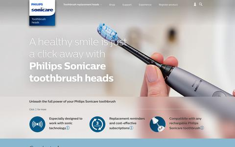 Screenshot of philips.com - Toothbrush replacement heads | Philips Sonicare - captured Sept. 18, 2017