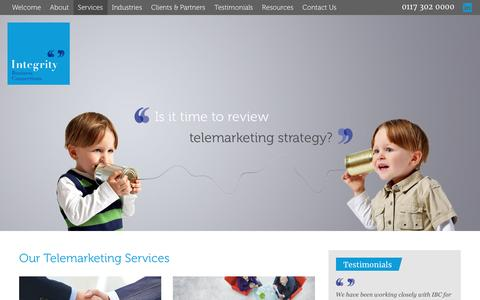 Screenshot of Services Page integritybc.co.uk - Our B2B Telemarketing Services   Integrity Business Connections Bristol   0117 302 0000 - captured Nov. 26, 2016