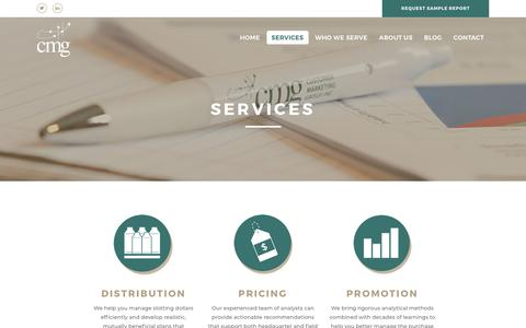 Screenshot of Services Page customermarketinggroup.com - Services - CMG - captured July 24, 2018